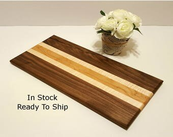 "Walnut/Curly Maple/Cherry Bar Cutting Board- 8""x17"" Free U.S. Ship- Hardwood Serving/Cutting Board *Barware, Home, Wedding Gift*"