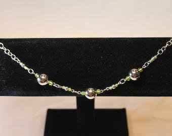 Multi Metalic and Green Beaded Bracelet (BS10)
