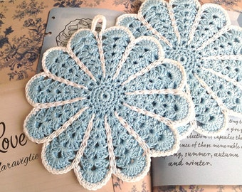Crochet Potholders, Crocheted Potholders, Light Blue Potholders, Flower Potholders, Hot Pad