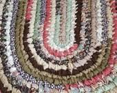 Handmade Oval Rag Rug -  Earthtones - Prints and Solids - Kitchen, Entry, Bedroom, Bathroom