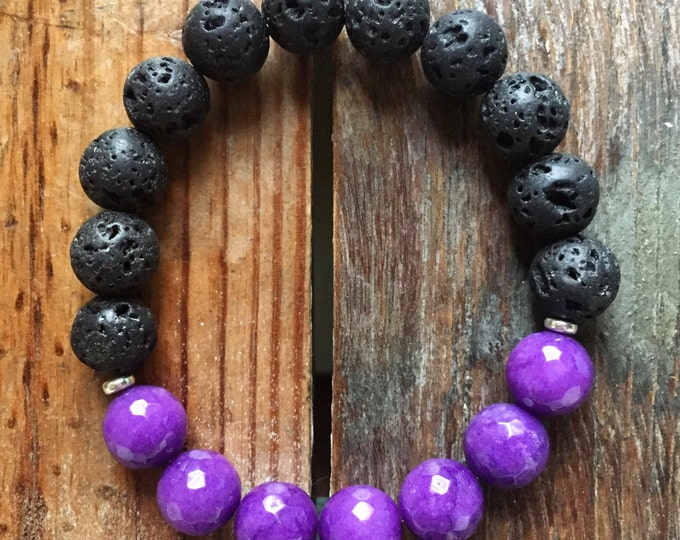 Stackable Spiritual Junkies Funky Chunky 10 mm Purple Jade + Lava Bead Essential Oils Diffuser Yoga and Meditation Bracelet