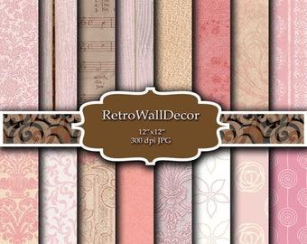 40% OFF SALE Pink wallpaper , Old wallpaper digital , vintage wallpapers , damask wallpaper texture , damask pattern ,rustic wallpaper  Buy