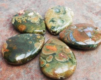 25% OFF SALE!! 2 - Rhyolite Rainforest Jasper 25x18mm Teardrop Beads, Green Brown Semi Precious Natural Stone, Frog Jasper