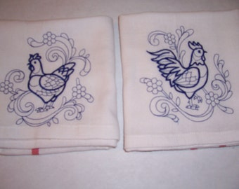 Rooster and Hen Kitchen Towels