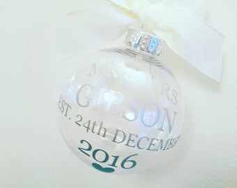 Personalised Mr and Mrs wedding day bauble, Bride and groom keepsake, momento