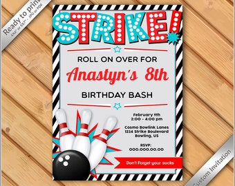50% OFF SALE - Bowling Birthday Invitation Bowling Birthday Party Invitation custom for boy