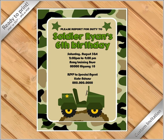 PERSONALIZED Invitation Camoflauge Birthday Printable