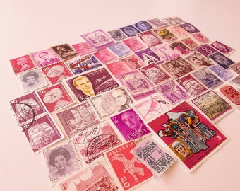 50 Purple Postage Stamps – Worldwide lot