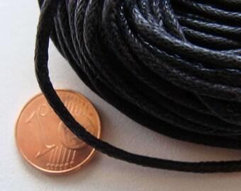 9m ou 75m coton ciré 2mm NOIR cordon fil en écheveau DIY bijoux loisirs créatifs noeuds macramé mercerie