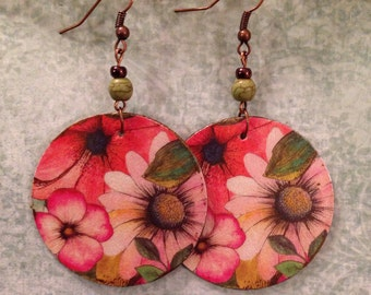 Up-Cycled Floral Earrings, decoupage cereal box, cardboard earrings, pink, boho