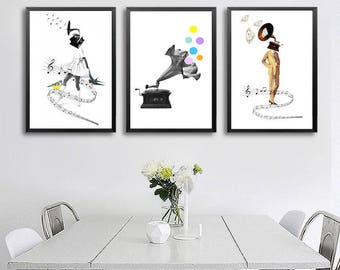 Set of 3 prints - black and white art, music art, surreal portrait, minimalist art, surreal collage art, woman art print, music wall art.