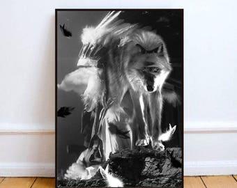 "Wolf print art, surreal art, black and white art, wolf art, boho print, feather print, animal wall decor, surreal collage art ""Wolf spirit""."