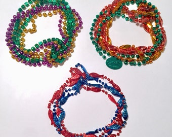 Vintage Multi-Colored Mardi Gras Bead Necklaces - 3 Sets of Strands to Choose From