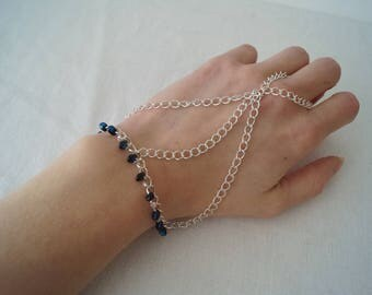 Bead Slave Bracelet, Hand Chain, Beaded Hand Chain, Blue Bracelet, Silver Hand Chain, Bracelet With Ring, Bridesmaid Gift, Jewellery