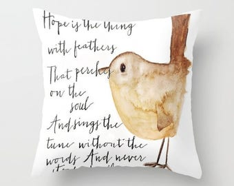 Hope is the Thing With Feathers Throw Pillow Cover