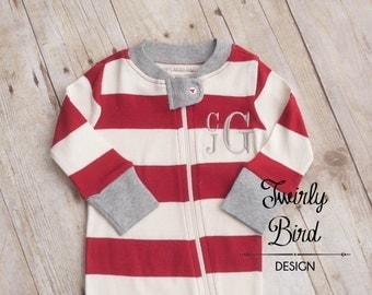 Monogrammed Baby PJ's - Monogram Newborn Pajamas -  Newborn Going Home Outfit - Coming Home Outfit - Newborn Photos- Organic Baby -