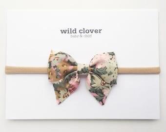 Liberty Floral Mini Sailor Baby Bow-Sage, Baby bows, baby headbands, baby head band, sailor bow, nylon headband, baby bow headband