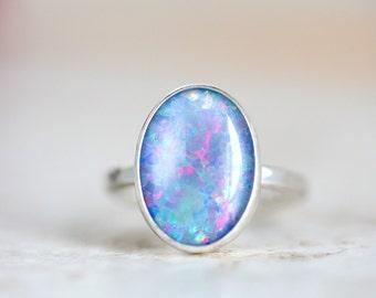 Opal Ring, Australian Opal Triplet Ring, Natrual Opal Triplet Ring, Australian Opal Silver Ring