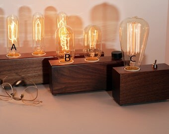 Wooden Edison Lamp, Walnut Wood, Table Lamp, Desk Lamp,  1, 2 or 3 Edison Bulbs , Industrial Lamp, Steampunk Lamp, Industrial Lighting