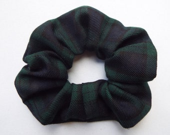 Black watch tartan hair scrunchie