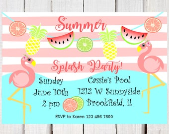 Summer invitation, Pink Flamingo, tropical pool party invitation, Pineapple and watermelon tutti frutti Birthday Splash party invitation.