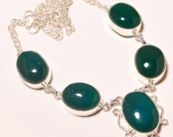 Green onix 925 sterling silver necklace 18''