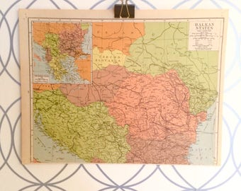 Antique Map of the Balkan States Atlas Published by Geographia Map Co. Inc. 1930 Alexander Gross FRGS (1879-1958)