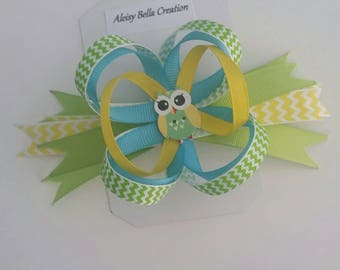 Yellow/lime loopy bow