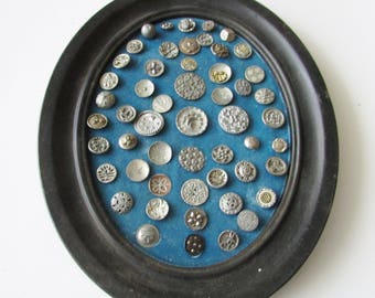 Vintage Framed Small Metal Button Estate Steel Cut  Floral Pewter Buttons Display