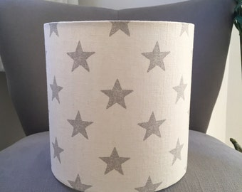 DRUM LAMPSHADE - Grey star fabric shade - grey and off-white linen