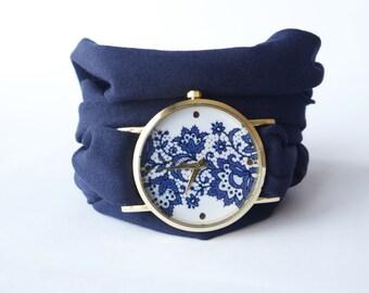 Navy blue lace Wrap watch  Infinity bracelet wrist watch Women teens wrist Tattoo cover Multistrand bracelet  Blue Jewelry Gift for her