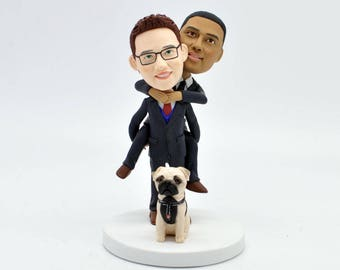 Gay Wedding Toppers, same sex cake topper,2 grooms cake topper,Custom bobblehead,gay cake topper,gay man wedding, gay cake,gay wedding