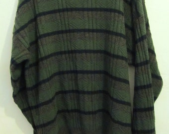 A Men's Vintage 80's,Striped Indie Mod Cotton Blend SWEATER By PECONIC BAY.L (tall)