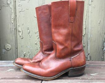 Men's Vintage Leather Boots - Brown Leather Boots - Men's Size 9.5 D