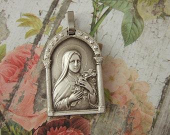 Saint Therese of Lisieux Catholic pendant medal signed JB vintage