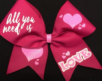 Valentine's Day Bow - All You Need Is Love Cheer Bow - Hot Pink bow - cheerleader bow - cheer practice bow
