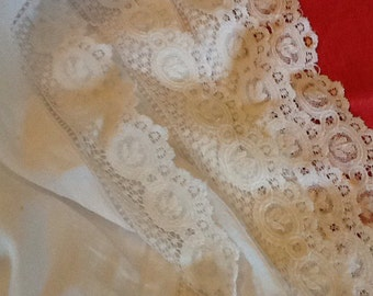 FREE SHIPPING Long antique French lace on linen fabric. Fabric with lace altar cloth. White linen and lace. Vintage lace.
