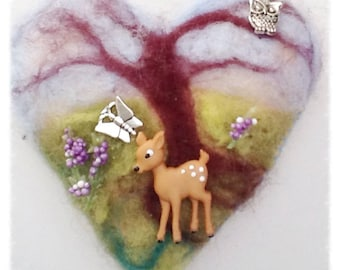 Felt heart, Twig Tree Decoration, Mixed Media Hear, Hanging Heart
