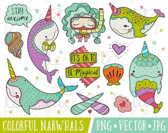 Narwhal Illustration Set, Cute Narwhal Clipart Set, Colorful Narwhal Nautical Marine Animals Clip Art Images, Commercial Use Illustration
