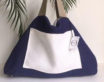 White linen tote bag reversible blue flax