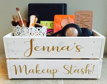 Makeup storage crate , vintage style box , makeup geek , valentines birthday gift for her or him , cosmetics organiser