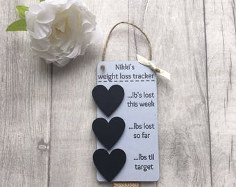 Personalised mini chalkboard , weightloss tracker for slimming world or weighwatchers , countdown plaque , diet plans , motivational present