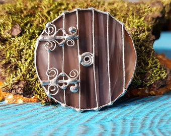 "Stained Glass Brooch ""The Hobbit Door"" Glass Art Jewelry Handmade Gift"