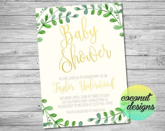Baby Shower Invitation / Green Leaves Baby Shower Invitation / Girl Boy / Baby / Leaves Shower Invitation / Green Gold / Digital File