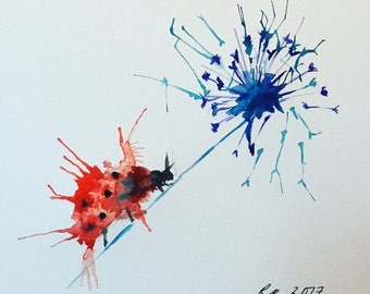 Ladybird & Dandelion Watercolour Print