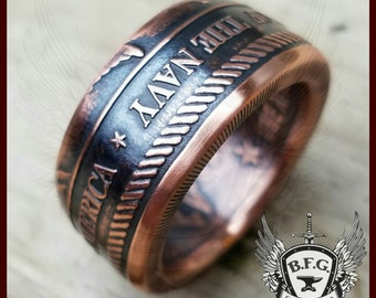 United States Military Service Branch, 1oz Handcrafted .999 Pure Copper Coin Ring.