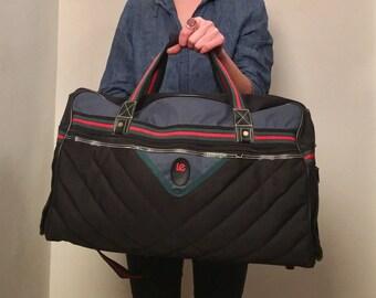 Vintage Weekender Bag - Men's Gym Bag - Black Quilted Overnight Bag - Carry On Luggage - Nylon Weekender Bag - Black Red Bag - LUG-17