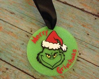 "Glitter Merry Gmas 3"" Acrylic Circle Christmas Ornament,"