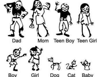 Zombie family decal sticker set standard size 4 members members include pets mom dad brother sister dog and cat all colors