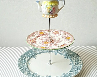 Vintage cake stand, two tier cake stand, wedding cake stage,  alice in wonderland, floral and teal cake stand, teaparty plates, cakestand